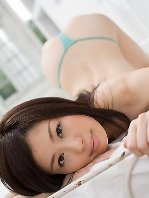 Takami Hou cute schoolgirl likes showing her blue panties and nice ass